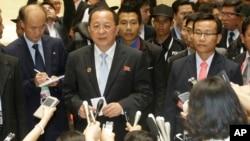 北韓外長李勇浩周二在老撾舉行的區域安全峰會上。