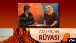 "VOA's Yenal Kucuker interviews student Rebecca Barr for his multimedia blog ""American Dream."""