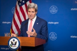 U.S. Secretary of State, John Kerry, announces a 72-hour humanitarian ceasefire between Israel and Hamas, in New Delhi, India, Aug. 1, 2014.