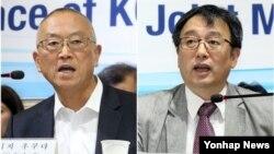 Pomoćnik generalnog direktora SZO Keidži Fukuda (levo) i dr Li Džong-ku, sa Mediscinskog fakulteta Nacionalnog univerziteta u Seulu na današnjoj konferenciji za novinare