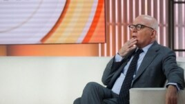 Author Michael Wolff is seen on the set of NBC's