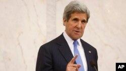 5月14日美國國務卿克里在瑞典斯德哥爾摩的記者會上就敘利亞問題發表談話