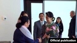 ေဒၚေအာင္ဆန္းစုၾကည္ ဘယ္လ္ဂ်ီယံႏုိင္ငံ ဘရာဆဲလ္ၿမိဳ႕ကို ဆုိက္ေရာက္(Ministry of Foreign Affairs Myanmar)
