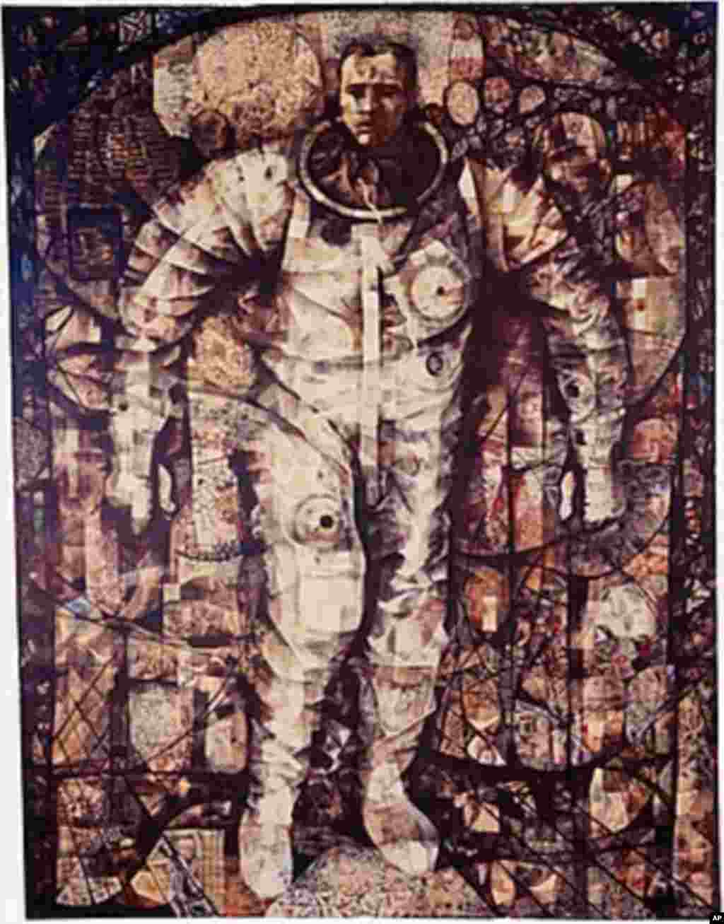 美国太空工程师戈登.库柏(Gordon Cooper)在环绕地球轨道22圈之后跨出水星航天飞机的时刻。