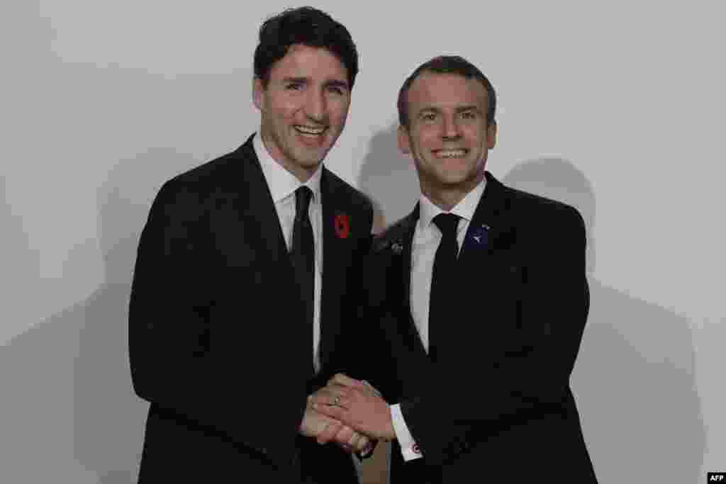 دیدار نخست وزیر کانادا و رئیس جمهوری فرانسه در مجمع صلح پاریس.