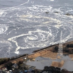 Waves hitting the coast of northern Japan after the March 11 earthquake