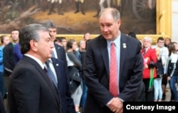 Congressman Trent Kelly with Uzbek President Shavkat Mirziyoyev, U.S. Congress, Washington, May 17, 2018
