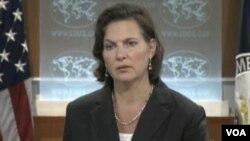 美國國務院發言人紐蘭(美國之音視頻截圖)