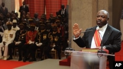Gabon's President Ali Bongo Ondimba, as he is sworn in for a second term in Libreville, Gabon, Sept. 27, 2016. Gabon has replaced three ministers, including the oil minister, the government said in a statement late on Monday.