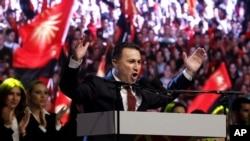 2015年5月8日,支持政府的集会在马其顿首都斯科普里的议会大楼前举行,格鲁埃夫斯基总理在集会上发表讲话。