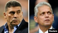 (L) Honduras national team head coach Luis Fernando Suarez. (R) Ecuador's national coach Reinaldo Rueda.