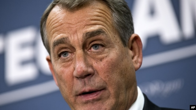 Speaker of the House John Boehner, R-Ohio, joined by the Republican leadership speaks to reporters about the fiscal cliff negotiations with President Obama following a closed-door strategy session, at the Capitol in Washington, December 18, 2012.