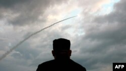 金正恩观看导弹发射 (2019年7月31号摄)