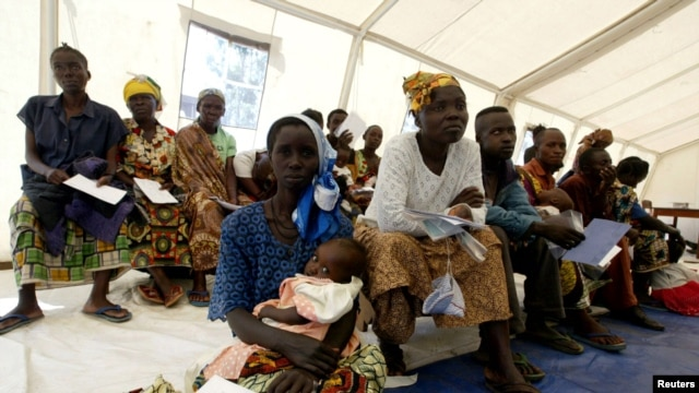 Congolese patients wait to be treated at a hospital run by Medecins Sans Frontieres in Bunia, Democratic Republic of Congo.