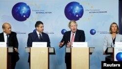유럽 외교장관들이 11일 벨기에 브뤼셀에서 기자회견을 열고 이란 핵 합의에 대한 지지 입장을 재확인했다. 왼쪽부터 장이브 르드리앙 프랑스 외무장관, 지그마어 가브리엘 독일 외무장관, 보리스 존슨 영국 외무장관, 페데리카 모게리니 유럽연합(EU) 외교안보 고위대표.
