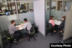 Students meet for tutoring at the John Crosland Jr. Center for Teaching and Learning at Davidson College in Davidson, North Carolina.