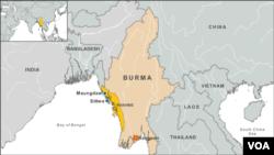 Peta wilayah kekerasan sekterian di Burma.
