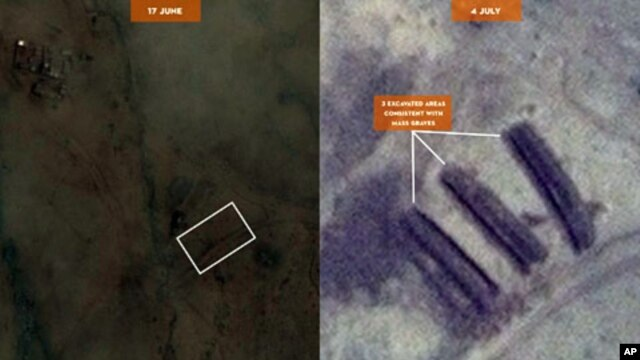 DigitalGlobe images taken 6/17/11 and 7/4/11, placed side-by-side for comparison, show three excavated areas positively identified by imagery analysis, independent of eyewitness reports, that corroborate allegations by two eyewitnesses of potential mass g