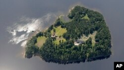 FILE - An aerial view of Utoya Island, Norway.