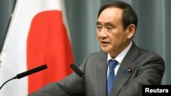 Chánh văn phòng Nội các Nhật Yoshihide Suga tại cuộc họp báo ở Tokyo sau khi có tin Triều Tiên phóng phi đạn ngày 12/2/2017.