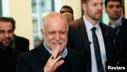 Iranian Oil Minister Bijan Zanganeh wave to journalists .