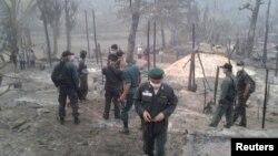 کیمپ میں آتشزدگی کے بعد کا منظر