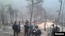 Hiện trường vụ hỏa hoạn tại trại tị nạn Ban Mae Surin, gần Mae Hong Son, cách Bangkok 800 km về hướng bắc, ngày 23/3/2013.