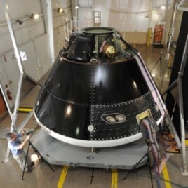 The Multi-Purpose Crew Vehicle being assembled and tested at Lockheed Martin's Vertical Testing Facility in Colorado.