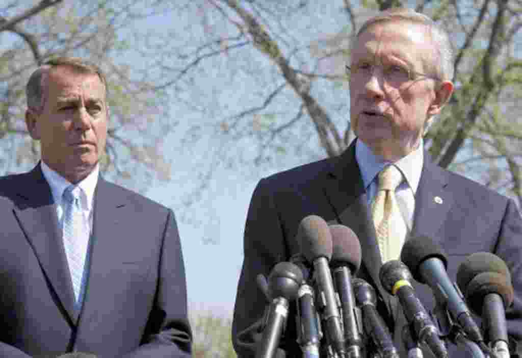 Harry Reid (D-NV) and John Boehner (R-OH) speak about the continuing budget negotiations after meeting with Obama in Washington, April 7, 2011