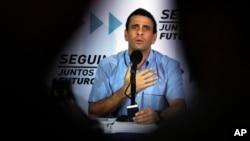 """Henrique Capriles, candidato de la oposición considera que no es """"creíble"""" que Maduro pueda terminar con la violencia que azota a Venezuela."""