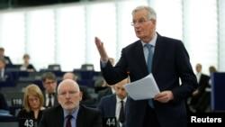 Šef evropskih pregovarača Mišel Barnije govori u Evropskom parlamentu u Strazburu 16. januara 2019.