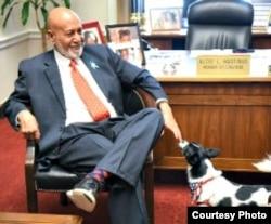 黑斯廷斯议员五月在国会办公室和去年在玉林屠宰场被国际人道对待动物协会援救的小狗里奇会面(Humane Society International)