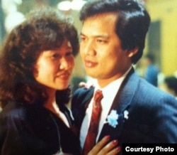 FILE - Neang and Timothy Chhim dance at their daughter's 16th birthday party, Rockland, New York, 1992. (Photo courtesy of Timothy Chhim)