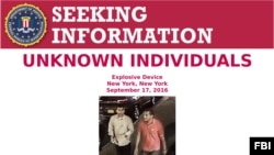 FBI handout photo of suspects wanted in connection with September 17 New York bombing.
