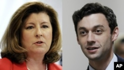 From left, Georgia congressional candidates Republican Karen Handel and Democrat Jon Ossoff.