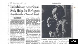 Bài báo Washington Post ngày 3 tháng 3, 1987, tường thuật buổi họp báo của tác giả tại Thượng viện Hoa Kỳ. (Hình: tác giả cung cấp)