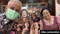 Gubernur Ganjar Pranowo sowan dan vlog bersama Ketua Umum PDI Perjuangan Megawati Sukarno Putri, akhir pekan kemarin di Jakarta. (Foto: Video-screenshot/Ganjar Pranowo)