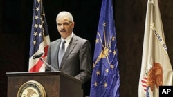 Attorney General Eric Holder speaks in Indianapolis, February 18, 2011 (file photo)