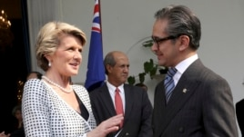 Australian Foreign Minister Julie Bishop, left, talks with her Indonesian counterpart Marty Natalegawa after their meeting in Jakarta, Indonesia,  Dec. 5 2013.