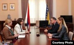 Sastanak Mladena Ivanića i američke ambasadorice Maureen Cormack u Predsjedništvu BiH, 31. januar 2018. godine.