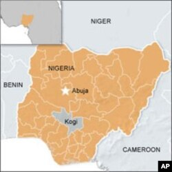 A map showing Kogi state in Nigeria, where more than 100 inmates escaped from prison