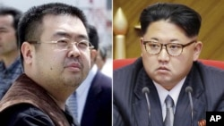 FILE - This combination of file photos shows Kim Jong Nam, left, exiled half-brother of North Korea's leader Kim Jong Un, in Narita, Japan, on May 4, 2001, and North Korean leader Kim Jong Un on May 9, 2016, in Pyongyang, North Korea.