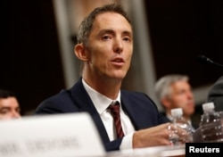 Keith Enright, chief privacy officer at Google LLC, testifies before the Senate Commerce, Science and Transportation Committee on safeguards for consumer data privacy in Washington, Sept. 26, 2018.