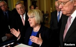 Senator Patty Murray (D-MD) speaks to reporters about Zika funding in the U.S. Capitol in Washington, May 17, 2016.