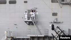 Tư liệu: Thủy thủ Mỹ trên tàu đổ bộ USS Peleliu, neo tại Vịnh Subic, Philippines, gần Olongapo, vùng Tây Bắc Manila, ngày 21/10/2014.