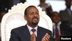 Thủ tướng Ethiopia Abiy Ahmed tại một buổi tập hợp trong chuyến thăm của ông tới khu vực Oromiya của Ethiopia hôm 11/4/2018 không lâu sau khi nhậm chức. Ông vừa được trao giải Nobel Hòa bình cho những nỗ lực giúp hàn gắn mối quan hệ với Eritrea sau 2 thập kỷ thù địch.