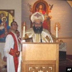 Senior Coptic Priest conducting Christmas mass in Virginia