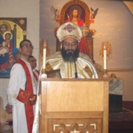 Senior Coptic Priest conducting Christmas mass in Virginia