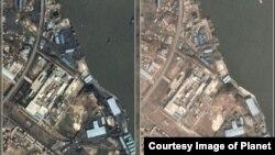 북한 서해안 대안항의 지난해 10월 9일 위성사진(왼쪽)과 올해 12월 5일 위성사진. 북한의 대표적인 석탄항 중 한 곳이지만 긴 시간 석탄이 취급되지 않으면서 과거 석탄이 쌓였던 곳이 맨바닥을 드러냈다. (제공=Planet)
