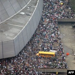 Thousands of people gathered at the New Orleans Superdome sports center before the storm